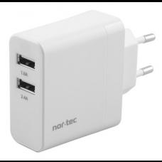 VÆGLADER 230V USB 2 PORTE 3,4A  godkendt af Apple