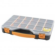 """Sortimentsæske 18"""" med håndtag og 20 rum. 420x305x61 mm. Farve sort, gul og transparent."""