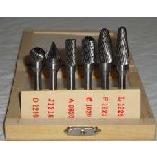 Lynfræser sæt 6mm hårdmetal 6stk